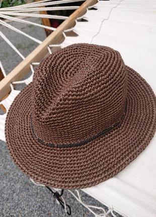 Шляпа федора натуральная рафия
