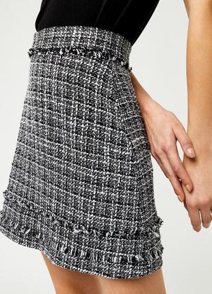 Стильная юбка warehouse черно-белая твидовая юбка в стиле шанель