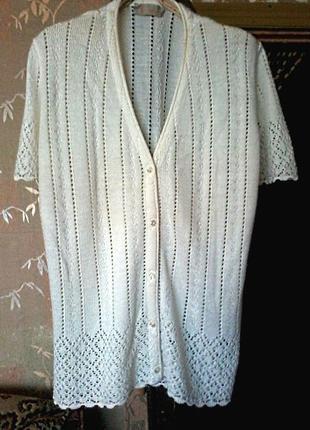 Красивая нежная кофточка футболка ажурная на размер 50-52