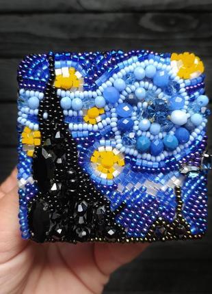 Брошь ручной работы звездная ночь, по мотивам картины ван гога