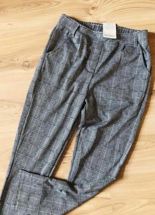 Мягусенькие клетчатые брюки с высокой талией blue motion, клетка с бежевым акцентом