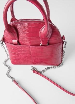 Нова малинова сумка сумочка zara розовая сумочка с ручками