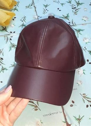 🎁1+1=3 шикарная кожаная кепка цвет марсала h&m из экокожи