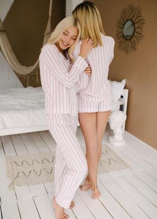 Пижама с штанами и шортами тройка