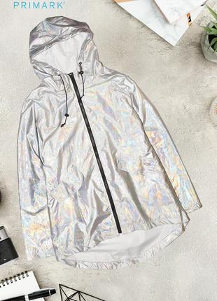Новая серебристая переливающаяся куртка ветровка primark
