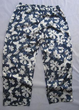 Стильные легкие широкие брюки бабочки цветы батал per una marks spenser