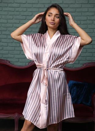 Сексуальный атласный халат в полоску. полосатый шёлковый халат. с-хл. турция