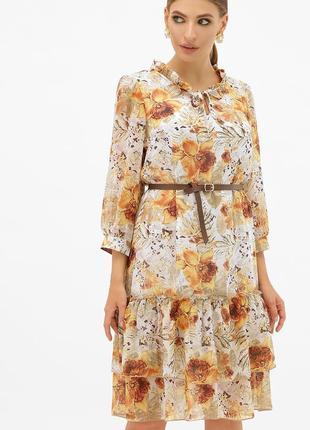 Лёгкое платье из креп-шифона с поясом * отличное качество