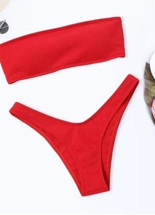 Красный купальник рубчик со шнуровкой на спине