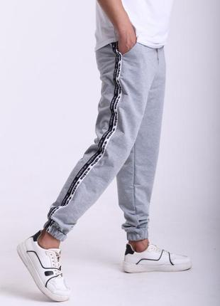 Штаны серые с двойным лампасом adidas duo