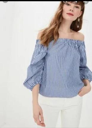 Хлопковая блузка с опущеними плечами и вышивкой размер м, l