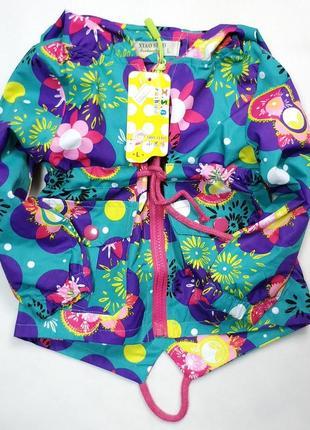 Демисезонная детская куртка ветровка для девочки зелёная цветы 2-6 лет 1841-2