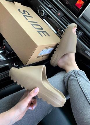 Шикарные женские тапочки adidas yeezy slide earth brown