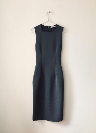 Платье миди mango серое приталенное платье ниже колен сіра сукня міді