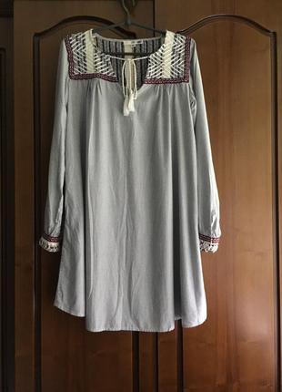 Хлопковое платье рубашка  в полоску