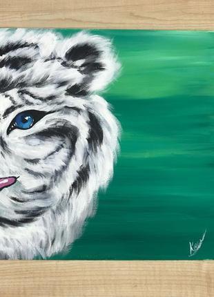 """Картина """"белый тигр"""" ручная работа 30/30"""