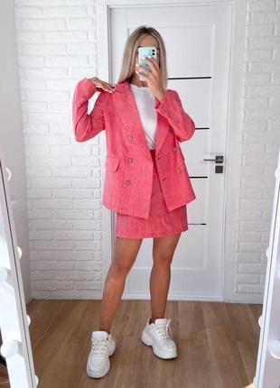 Яркий костюм пиджак + юбка лен