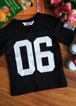 Модная удлиненная трикотажная футболка hm на 1,5-2 года.