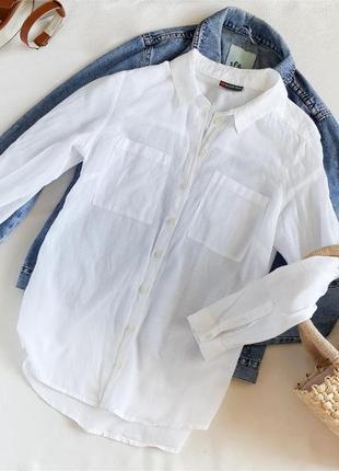Базовая бела рубашка прямого кроя