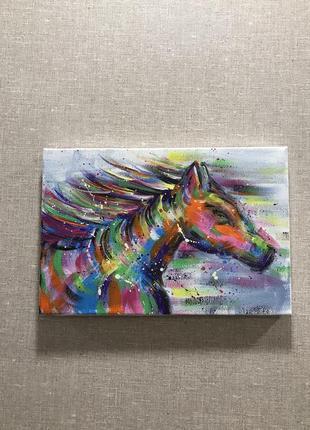 Картина ручная работа, красочный конь. 20/30.