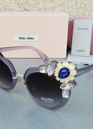 Miu miu очки женские солнцезащитные с камнями сиреневые стильные эффектные3 фото