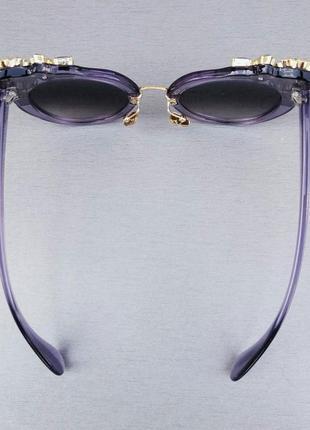 Miu miu очки женские солнцезащитные с камнями сиреневые стильные эффектные7 фото