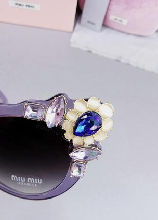 Miu miu очки женские солнцезащитные с камнями сиреневые стильные эффектные8 фото