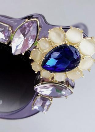 Miu miu очки женские солнцезащитные с камнями сиреневые стильные эффектные9 фото