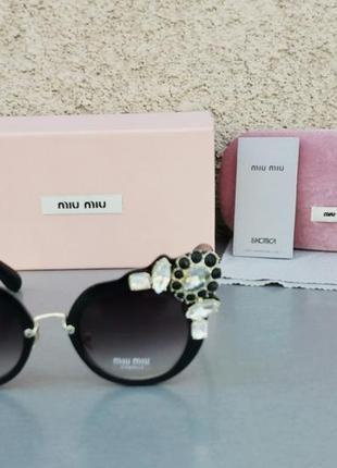 Miu miu очки женские солнцезащитные стильные эффектные с камнями черные2 фото