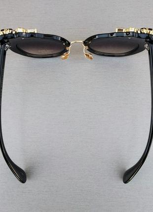 Miu miu очки женские солнцезащитные стильные эффектные с камнями черные7 фото
