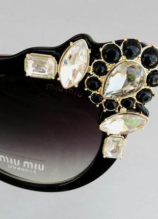 Miu miu очки женские солнцезащитные стильные эффектные с камнями черные8 фото