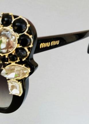 Miu miu очки женские солнцезащитные стильные эффектные с камнями черные10 фото