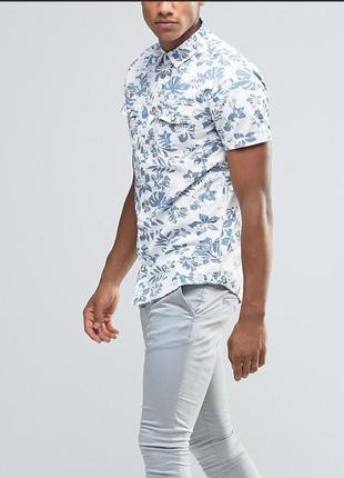 Рубашка узкого кроя с короткими рукавами