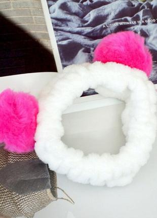 Повязка для макияжа панда с помпонами, розовая