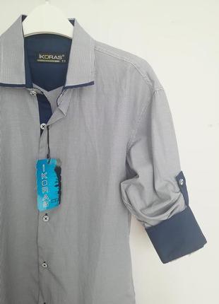 Детская рубашка с длинным рукавом в тоненькую полоску, школьная рубашка