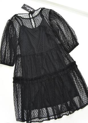 Черное сетчатое платье миди