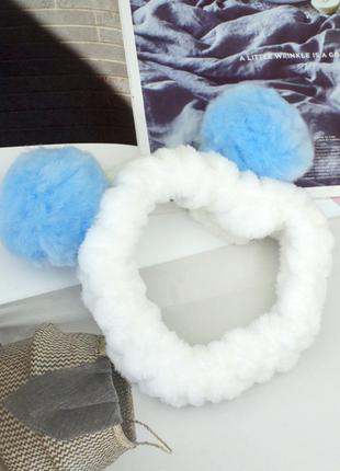 Повязка для макияжа панда с помпонами, голубая