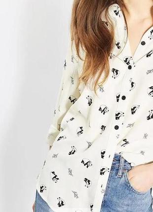 Рубашка блуза молочного оттенка в пандочки topshop