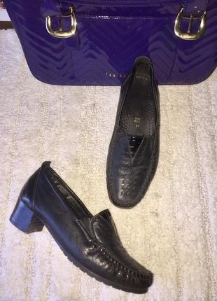 Чёрные туфли лоферы мокасины из натуральной кожи на низком каблуке  #t 7