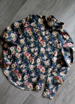 Италия стильная😱 яркая прямая коттоновая рубашка в цветы итальянская марка terranova