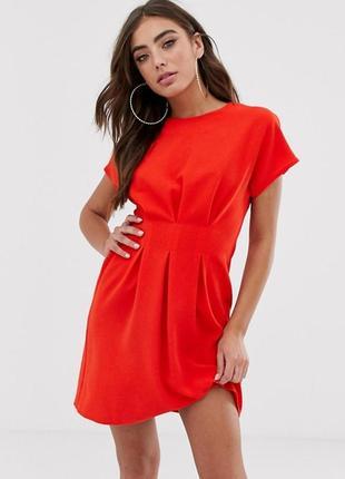 Оригинальное яркое красное платье asos