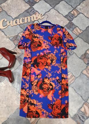 Яркое ровное платье,размер s