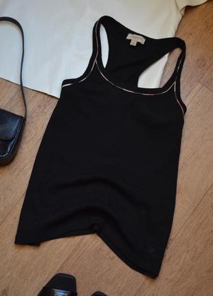 Burberry brit черная майка в рубчик оригинал брендовая однотонная базовая