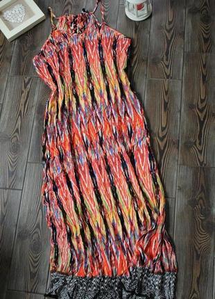 Платье туника из жатой ткани с разрезами с принтом в стиле бохо этно
