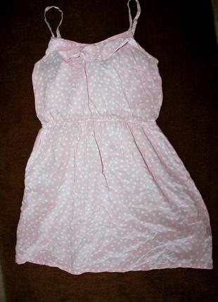 Платье сарафан розовое пудровое на тонких бретельках xs_s