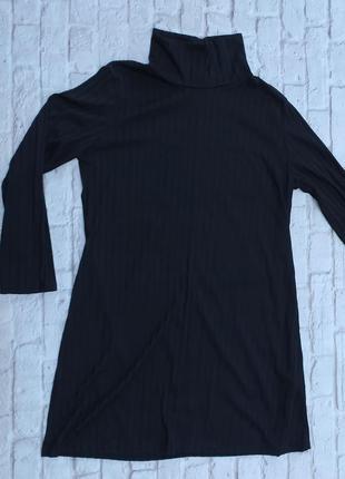 Стильная базовая туника в рубчик большого размера платье короткое