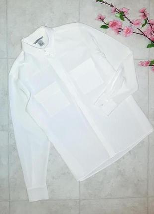 1+1=3 стильная фирменная свободная белая блуза рубашка оверсайз h&m, размер 42 - 44