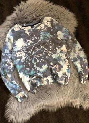 Голубой свитшот в цветочный принт, кофта, свитер, джемпер, кофточка, світшот