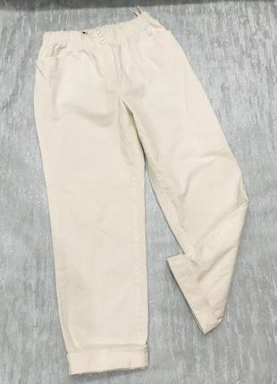 Стрейчевые белые брюки высокая посадка gerke
