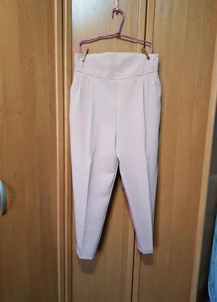 Стильные нежно-розовые брюки, сливовые брюки, классические штаны высокая посадка 2 цвета